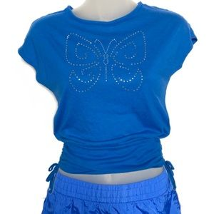 Tops - Y2K Butterfly Rhinestone Ruched Side Tee
